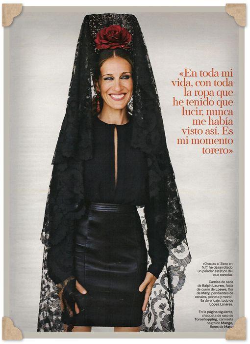 Sarah Jessica Parker con mantilla Española de Vintage By López-Linares