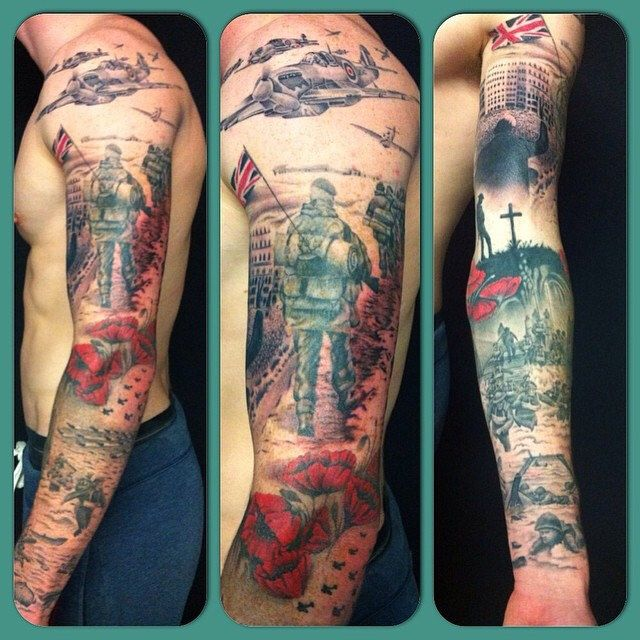 british army inspired sleeve by richard dean alanstattoostudio bad ass tattoos pinterest. Black Bedroom Furniture Sets. Home Design Ideas