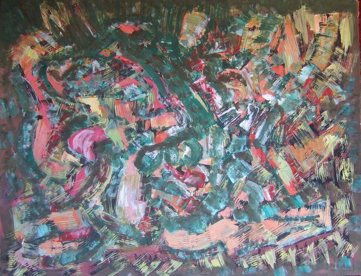 Jacques Chevalier (1924-1999) / Composition verte et rouge / Gouache sur papier / Cachet de l'atelier / 50 x 65 cm