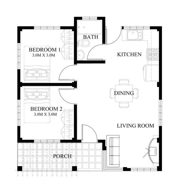 Single Story Small House Plan Floor Area 90 Square Meters Below