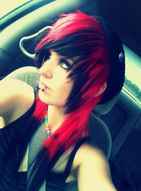 Red and black scene hair. | ♡ | Hairstyles. | Pinterest