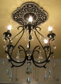 Distressed black Mediterranean Vine Ceiling Medallion, Marie Ricci Collection, Chandelier from Pottery Barn
