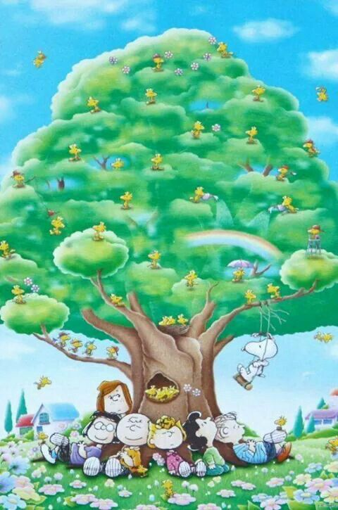 'Happiness and Bliss under the Peanuts Tree', Charlie Brown, Snoopy, and the Peanuts Gang.