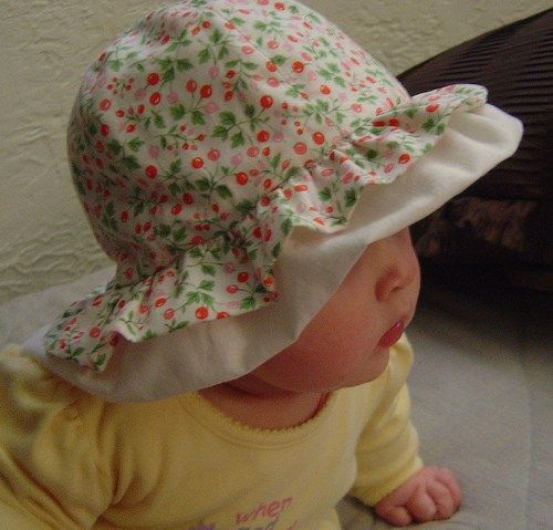 The perfect sun hat for baby!  FREE PDF pattern