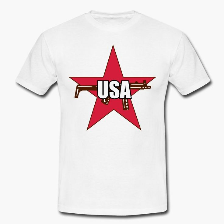 "The logo of the terrorist group Roten Armee Faktion (also known as Baader-Meinhof group) with the word ""USA"" instead of ""RAF"".  https://shop.spreadshirt.fi/revolt-noir/""usa""-A106381487?appearance=1"