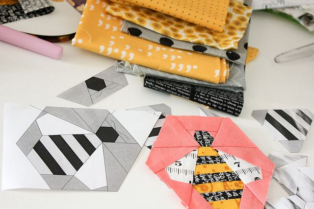 Free Hexy Bee paper piecing pattern by Amy Gunson of Badskirt.