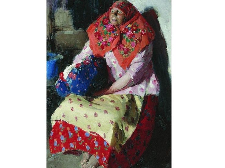А.Е.Архипов (1862–1930 гг.), «Крестьянка», 1916 г. На полотне изображена крестьянка в платке, заколотом на булаву. Вся одежда девушки выполнена в ярких тонах. В руках у героини котомка.