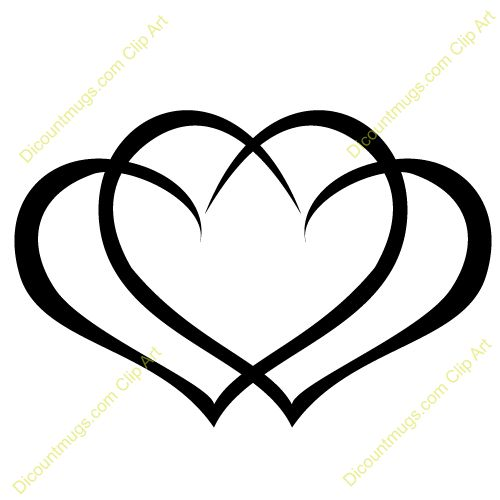 Clipart 12059 Interlocking hearts - Interlocking hearts mugs, t-shirts, picture mouse pads, & more