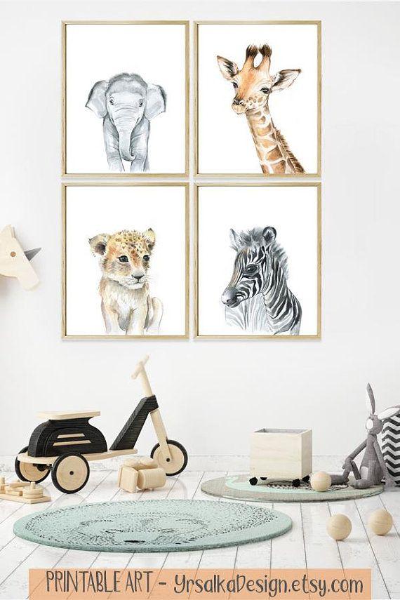 Baby Animal Nursery Wall Art Safari Animal Prints Printable Etsy Animal Wall Art Nursery Baby Animal Nursery Baby Animal Prints