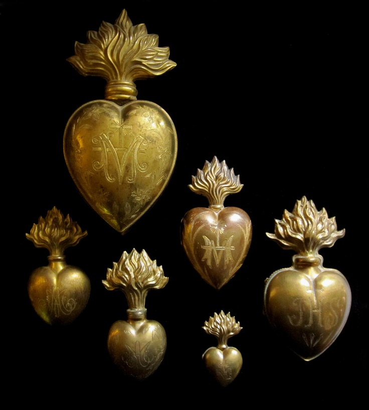 Reserved For Mikki- Next Payment Antique Heart Ex Voto- Gilded Brass- Sacred…
