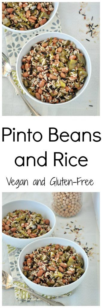 Easy dinner idea with this Pinto Beans and Rice. Vegan and gluten free.