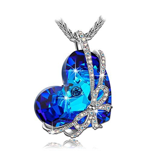 """【Deal of the Day】""""Heart of the Ocean"""" Blue Authentic SWAROVSKI ELEMENTS Crystal Heart Shape Pendant Women Necklace Fashion Jewelry. Enjoy the Romantic Summer Holiday with your Love -- Three Layers Real 18K White Gold Vacuum Plating, Not Allergic. Swarovski's Standards, The Highest Quality for Fashion Jewelry. Environmental Friendly - http://dressfitme.com/%e3%80%90deal-of-the-day%e3%80%91heart-of-the-ocean-blue-authentic-swarovski-elements-crystal-heart-shape-pendant-wome"""