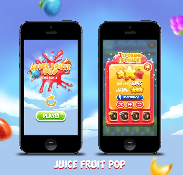 Juice Fruit Pop game interface on Behance