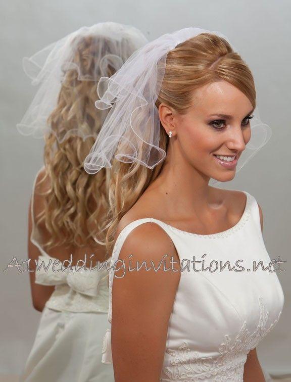short wedding veils | Short White 2 Tier Wedding Veil 10 by 15 C5-152-F
