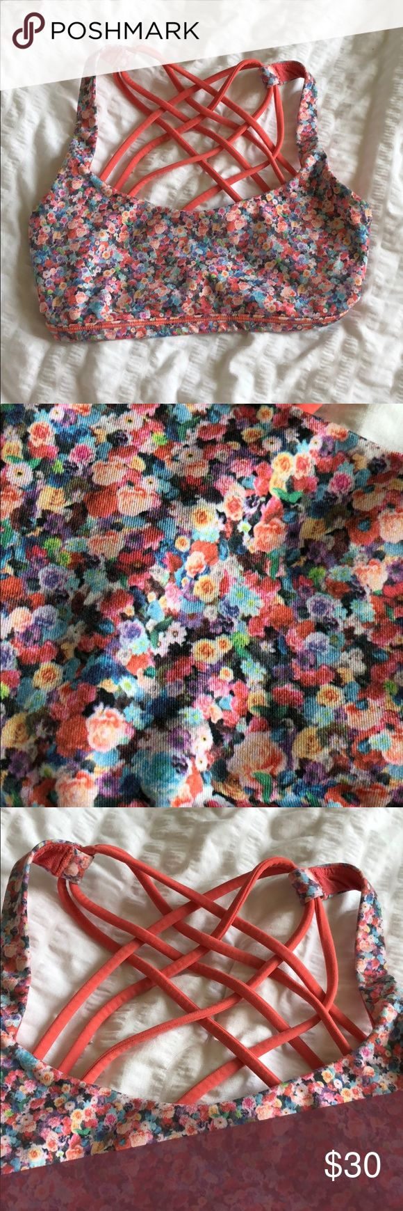 Lululemon Floral wild sports bra size 2 Good condition no pads lululemon athletica Tops Crop Tops