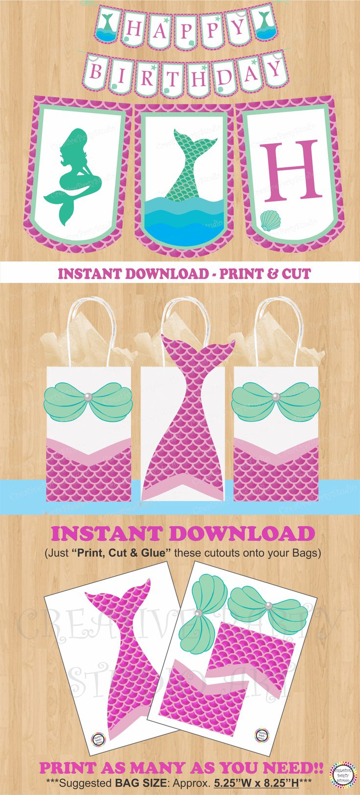 Pink Mermaid Party Favor Bags/ Mermaid Birthday Party ideas/ Mermaid Party decorations/ banner/ teal and pink/ favors/ Girl Summer Pool Party ideas/ Under the Sea party/ Pirate Party/ Mermaid treat/ goodie/ goody/ gift/ loot/ candy/ bags/ little mermaid birthday cake/ cupcake toppers/ Mermaid invite/ mermaid invitations/ free/ Mermaids party ideas/ DIY favor bags/ labels/ fiesta sirena/ sirenita/ mermaid pink tail swim suit/ swimmable/ festa da sereia