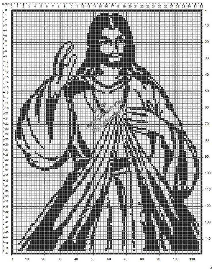 Immagine di Gesù Misericordioso schema a uncinetto filet gratuito