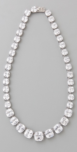 "Kenneth Jay Lane's ""Graduated Cushions"" necklace would add just the right amount of sparkle to any wedding gown"