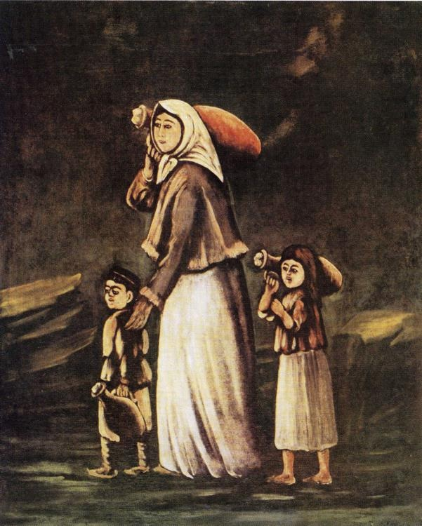 Peasant Woman with Children Goes for Water