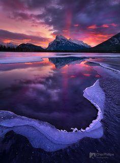 Winter sunrise in Banff National Park, Alberta, Canada