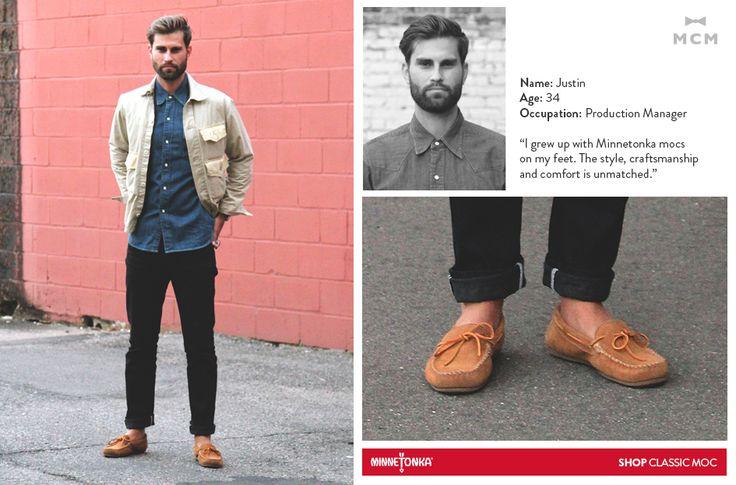 Minnetonka + Mill City Men: Justin wearing his Classic Mocs