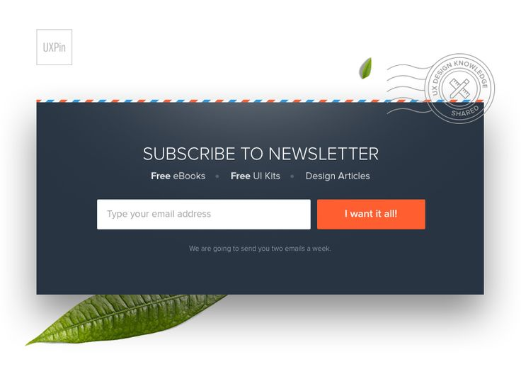 Newsletter module which is visible across Studio by UXPin — Free UX Design Resources for designers and product teams.