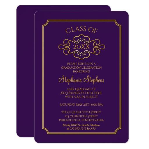127 best purple graduation invitations images on pinterest elegant purple gold college graduation party card stopboris Choice Image