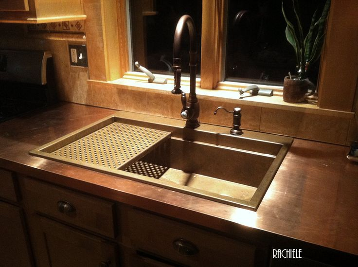 Delightful Kitchen Sink Backsplash Ideas Part - 12: Top Mount Copper Sink On A Copper Countertop. Sink Features Interior Ledges  For A Removable Copper Grid (shown) And Various Cutting Boards (not Shou2026