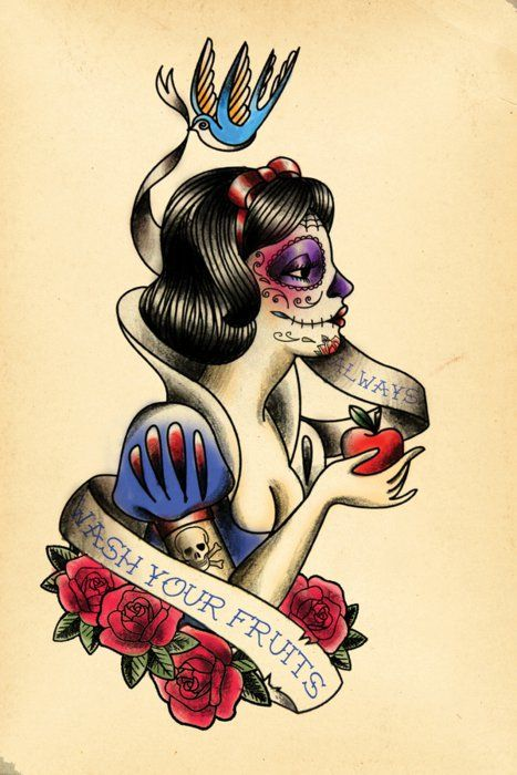 Snow White. This is amazing.: Tattoo Ideas, Fruit, White Tattoo, Snowwhite, Tattoos, Disney Princess, Sugar Skull, Dead, Snow White