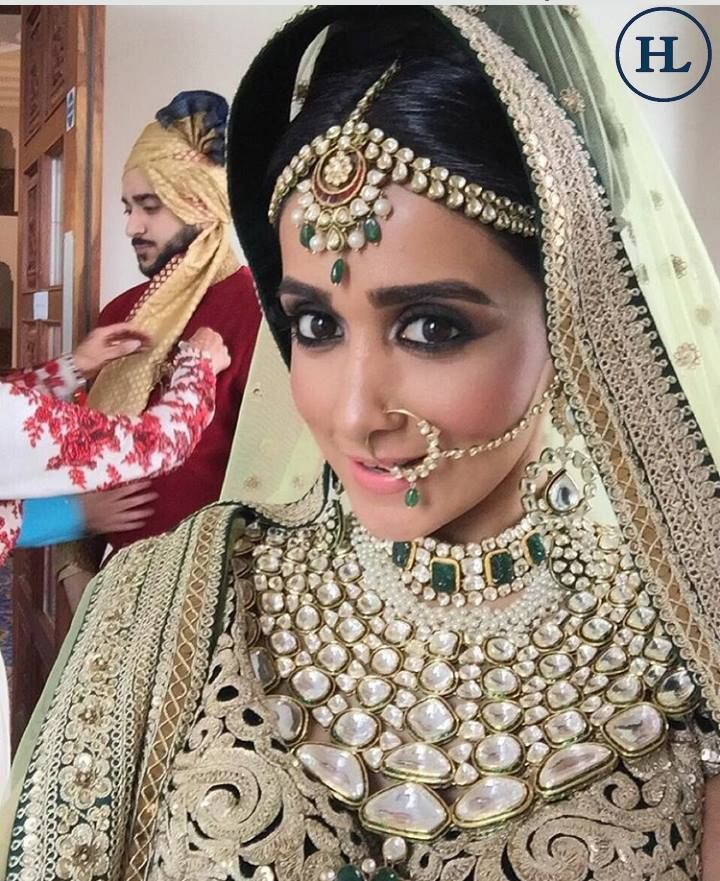 """Jewellery is a way of keeping memories alive ."" Congratulations to the beautiful bride Esha ! Savour your most special memory on your wedding day with Marvellous and Memorable jewellery from the House of #HazoorilalBySandeepNarang#sparkle #radiate #mesmerise #enchant #Hazoorilal #SandeepNarang #bespoke #wedding #londondiaries #bridal #polki #jewellery #Hazoorilal #HazoorilalJewellers"