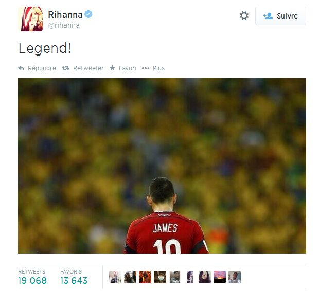 Le tweet de Rihanna sur James - http://www.actusports.fr/110737/tweet-rihanna-james/