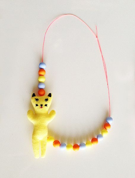 the   beaded kitty   necklace