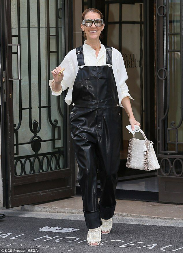 Striking: Celine Dion opted for a more playful look on Sunday as she headed out from the H...