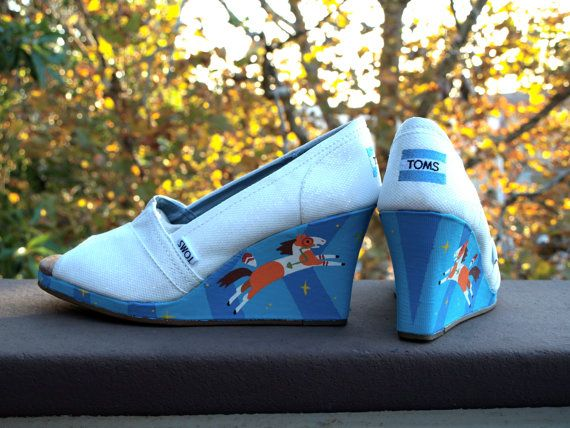 HORSES ON TOMS GUYS HORSES ON TOMS!  KOOAK Kustom Hand Painted Toms Wedges  Any by KammysOneOfAKind, $175.00