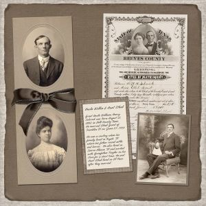 Neat looking page for a family tree scrapbook. Could be very neat to do some sleuthing and finding old family documents.