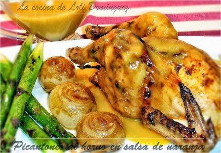 Picantones al horno en salsa de naranja | WikiChef