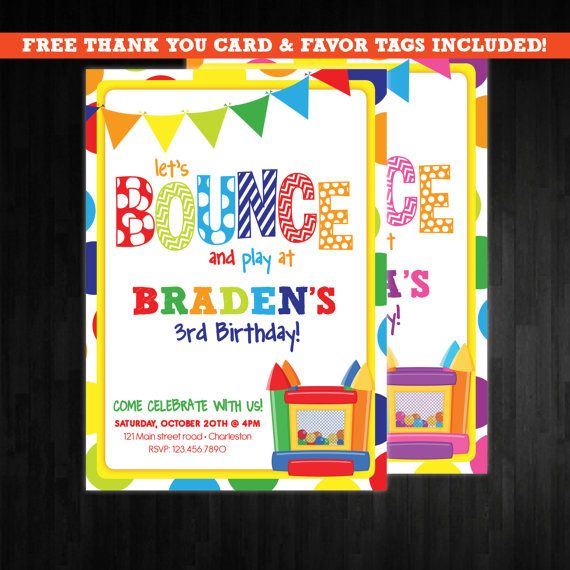 best 25+ bounce house birthday ideas on pinterest | bounce house, Birthday invitations
