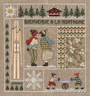 Bienvenue a la montagne- so cute! Would make a nice quilt design as well.