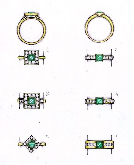 Some beautiful designs by Amy featuring a square shaped step cut emerald and round diamonds in yellow gold. #jewellerydesign #emeralds #diamonds #gold #bespoke