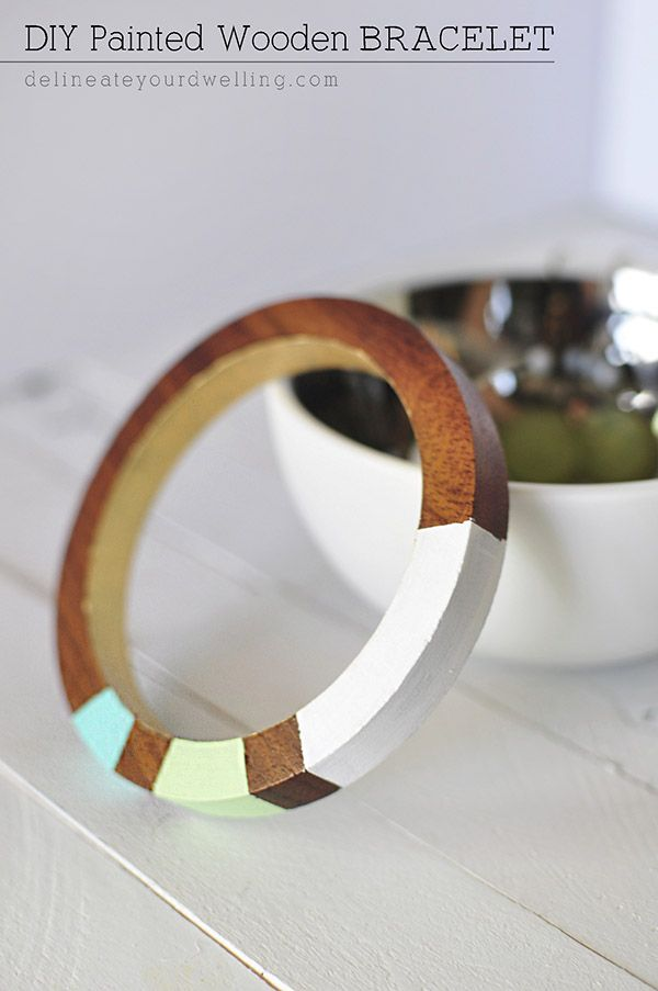Easy DIY Painted Wooden Bracelet - the perfect statement jewelry piece and so simple to create!