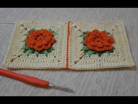 طريقه عمل مربع بوردة مجسمة بالكروشيه وطريق تشبيهك بمنتهى السهولة Youtube Crochet Blanket Blanket Crochet