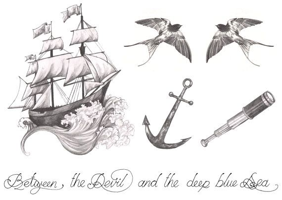 SPRING SALE - 30% OFF WAS £5.00  Pencil drawn temporary tattoos inspired by a life on the sea, digitally printed on waterslide temporary