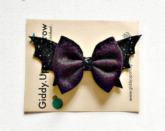 Halloween Hair Bow Bat Fall Headband Halloween by giddyupandgrow