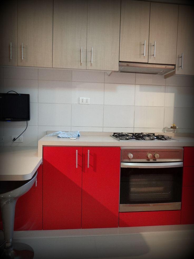 Cocina encimera con horno bajo superficie postformada - Tiradores armarios cocina ...