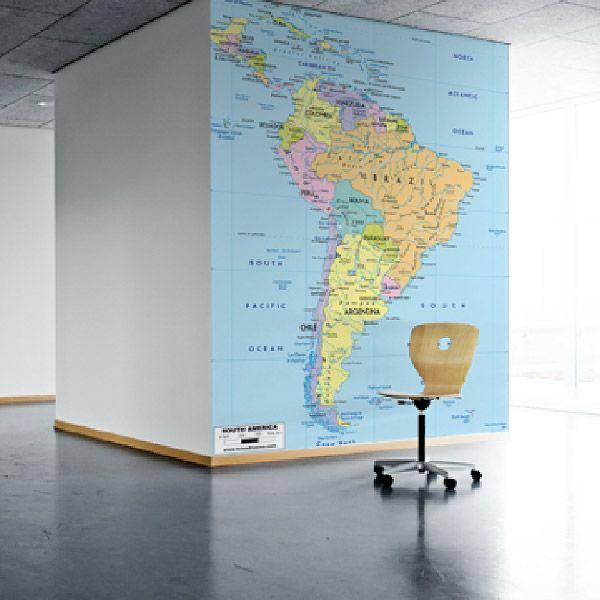 Mappa Sudamerica politico per decorare una parete #mappa #politica #adesivi #murali #vinile #deco #decorazione #muro #StickersMurali