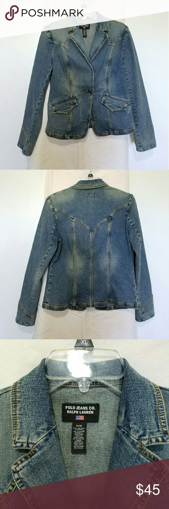 Polo Jeans Co. Ralp Lauren Jean Jacket Polo Jeans Co. Ralp Lauren Jean Jacket. Size M. Has two front pockets. Very stylish with lightly distressed look. In very good condition. *Smoke Free home* Polo Jeans Co. Ralp Lauren Jackets & Coats Jean Jackets