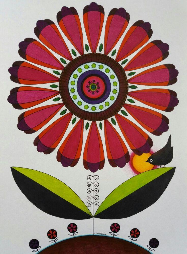 Flower with bird. Ink and colour pencil. A3 Stilicerad blomma med fågel. Bläck och färgpennor, luminance och polycromos.