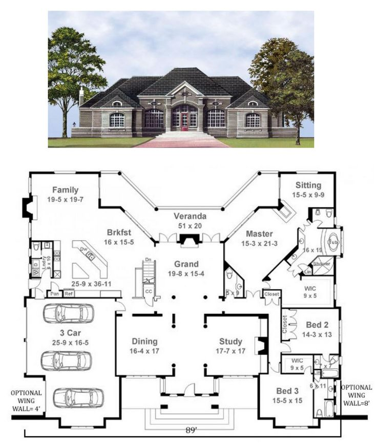images about Dream Home on Pinterest   Basketball Court     ground floor   there is an optional extra basement plan   I would take out the bath tub in the master and do a large shower and remove the