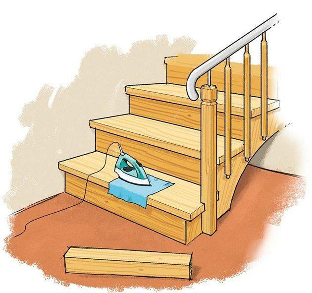 Na poškozené schody platí žehlička a mokrý hadřík