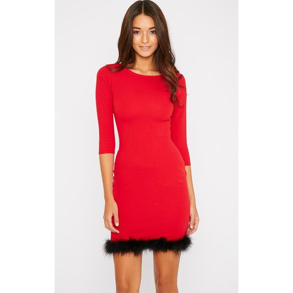 Maya Red Fluffy Trim Dress (£10) ❤ liked on Polyvore featuring dresses, red, red dress, red going out dresses, red party dresses, holiday party dresses and going out dresses